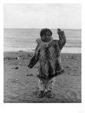 Eskimo Child on Beach Photograph - Alaska Prints