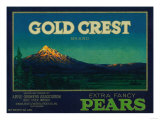 Gold Crest Pear Crate Label - Hood River, OR Prints