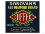 Donovan's Coffee Label - Birmingham, AL Prints by  Lantern Press