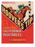 Hoover's Tip Vegetable Label - Watsonville, CA Art by  Lantern Press