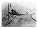 Eskimo in Boat made with Skins called an Omiak Photograph - Alaska Prints
