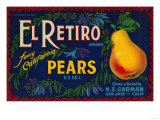 El Retiro Pear Crate Label - San Jose, CA Prints by  Lantern Press