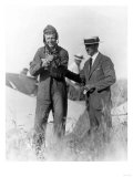 Lindbergh and Wright with Wrecked Plane Photograph - St. Louis, MO Prints
