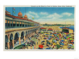 Crowds on the Beach in front of the Casino, Santa Cruz - Santa Cruz, CA Prints by  Lantern Press