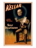 Lantern Press - Kellar performing Self Decapitation Magic Poster - Art Print