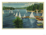 Lake Arrowhead, CA Yacht Club Racing - Lake Arrowhead, CA Prints by  Lantern Press