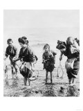 Japanese Mothers and Children Fishing Photograph - Japan Prints by  Lantern Press