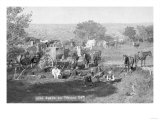 Cowboys Eating around a Campsite Photograph - South Dakota Prints