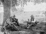 Cowboys Eating Dinner under a Tree Photograph - Texas Prints