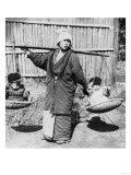 Japanese Woman with Children on a Yoke Photograph - Japan Prints