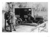 "Mail Carrier with ""United Mail"" Automobile Photograph Prints by  Lantern Press"