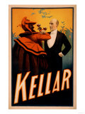 Kellar Magician Drinking Wine with the Devil Magic Poster Prints