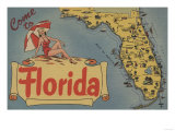 Come to Florida Map of the State, Pin-Up Girl - Florida Art