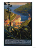La Riviera Italienne: From Rapallo to Portofino Travel Poster - Portofino, Italy Prints