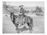 Cowboy on His Horse Photograph - South Dakota Prints by  Lantern Press