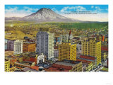 Tacoma Downtown with Mt. Rainier - Tacoma, WA Poster by  Lantern Press