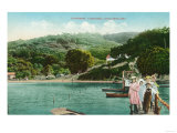 View of a Family on Lake Dock - Inverness, CA Poster by  Lantern Press
