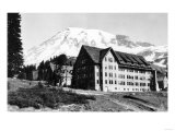 Mt. Rainier and Paradise Inn - Rainier National Park Print by  Lantern Press