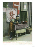 View of Chinese Fortune Teller at Desk - San Francisco, CA Print by  Lantern Press