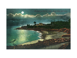 Moonlit view of the Vue de l'Eau - Santa Cruz, CA Posters by  Lantern Press