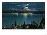 Mt. Rainier View under Moonlight - Rainier National Park Posters by  Lantern Press