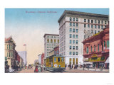 View of Broadway with Street Car - Oakland, CA Poster by  Lantern Press