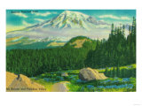 Mt. Rainier and Paradise Valley - Rainier National Park Posters by  Lantern Press