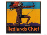 Redlands Chief Orange Label - Redlands, CA Print by  Lantern Press