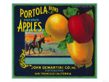Portola Apple Crate Label - San Francisco, CA Poster