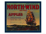 North Wind Apple Crate Label - Yakima, WA Poster