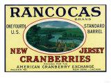 Rancocas Brand Cranberry Label Poster