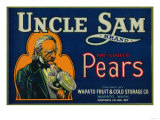 Uncle Sam Pear Crate Label - Wapato, WA Posters by  Lantern Press