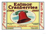 Red Bell Eatmor Cranberries Brand Label Posters
