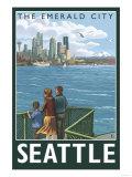 Seattle, Washington Skyline - Lantern Press Original Poster Posters by  Lantern Press