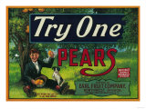 Try One Pear Crate Label Posters