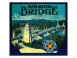 Mission Bridge Orange Label - Riverside, CA Poster by  Lantern Press