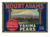 Mount Adams Pear Crate Label - Yakima, WA Poster by  Lantern Press