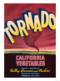 Tornado Vegetable Label - Guadalupe, CA Poster by  Lantern Press