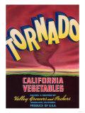Tornado Vegetable Label - Guadalupe, CA Poster
