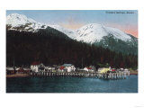 Town View with Docks - Tenakee Springs, AK Poster by  Lantern Press