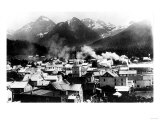 Town View of Sitka, Alaska with Pyramid Mountains Photograph - Sitka, AK Print by  Lantern Press