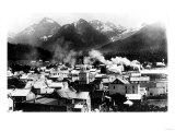 Town View of Sitka, Alaska with Pyramid Mountains Photograph - Sitka, AK Print