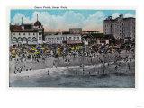 Ocean Front Swimming, Ocean Park - Santa Monica, CA Print