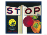 Stop Apple Crate Label - Cutler, CA Print