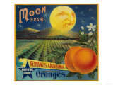 Moon Orange Label - Redlands, CA Póster por Lantern Press