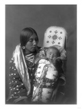 Mother and child Apsaroke Indian Edward Curtis Photograph Poster von  Lantern Press