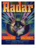 Radar Vegetable Label - Phoenix, AZ Posters by  Lantern Press