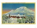 Timberline Lodge in Winter at Mt. Hood - Mt. Hood, OR Print by  Lantern Press