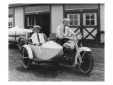 Men on Harley Davidson Motorcycle with Sidecar - Indianapolis, IN Print by  Lantern Press