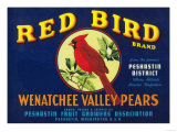Red Bird Pear Crate Label - Pashastin, WA Print by  Lantern Press